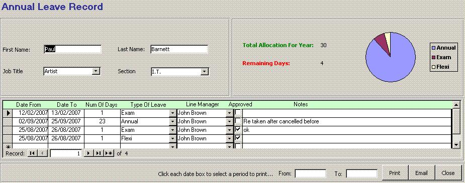 Human Resources Annual Leave Attendance 2